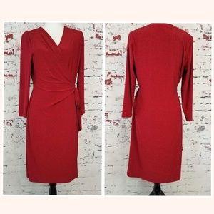 ANNE KLEIN Red w/Black Polka Dots Dress Women's L